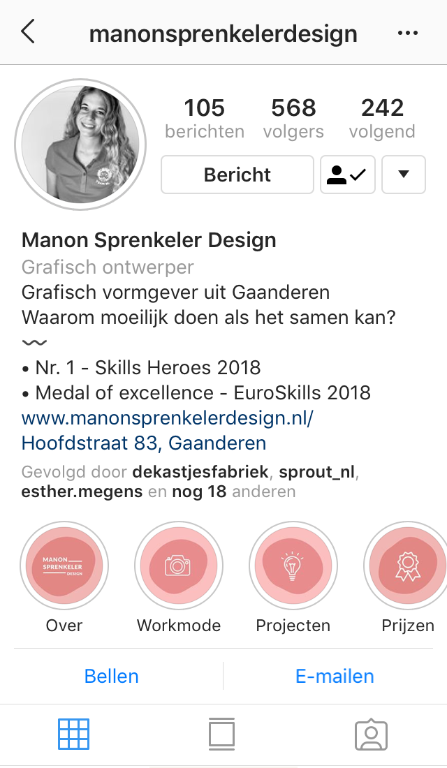 Voorbeeld Instagram highlight